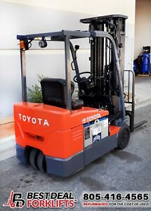 11 2017 Toyota 8fbe18u Electric 3 Wheel Forklifts Ssfp Only 3600 5400 Hours