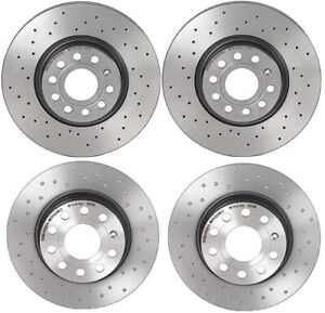 Brembo Xtra Front Rear Brake Disc Rotors Coated Drilled Kit For Passat 2014 2018