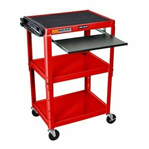 Luxor Adjustable Height Red Metal A v Cart W Pullout Keyboard Tray