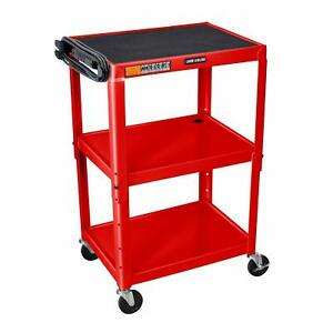 Luxor Adjustable Height Red Metal A v Cart