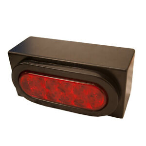One Red Led Stop Tail Turn Trailer Light W Metal Mounting Box