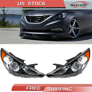 For Hyundai Sonata 2011 2014 Headlight Lamps Black Housing Left Right Side