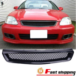 Fits 1999 2000 Honda Civic Jdm Type Front Hood Grille Abs Black Mesh Grill