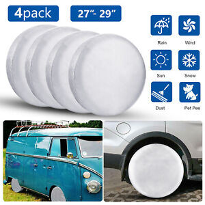 4pcs Tire Covers Set Rv Wheel Trailer Camper Car Truck Sun Protector Waterproof