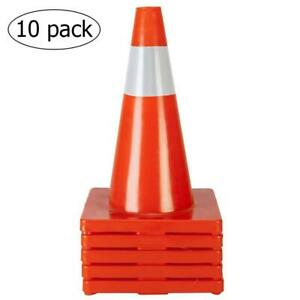 Oshion 10pcs Traffic Cones 18 Orange Slim Fluorescent Reflective Road Safe