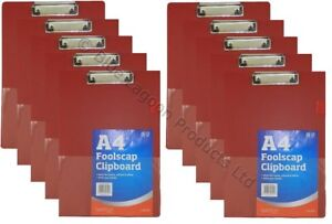 10 X Red Solid A4 Clipboard Clip Board Clipboards With Pen Holder Foolscap