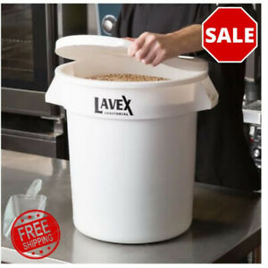 10 Gallon White Round Heavy Duty Ingredient Bin Commercial Trash Can And Lid