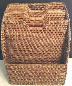 Vtg Sturdy Wicker Wood 4 Slot File Document Mail Organizer Sorter looks Unused