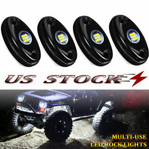 4pcs 9w Led Rock White Car Trail Fender Under Glow Lamp Boat Deck Rig Light