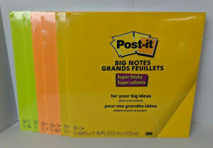 6 Packs 30 Each 3m Post It Big Notes Super Sticky Neon Yellow Orange 11x11