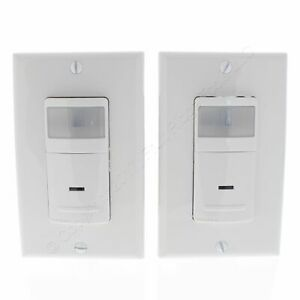 2 Leviton White Motion Sensor 1 pole 3 way Light Switches 900sq Ft On off Ips06