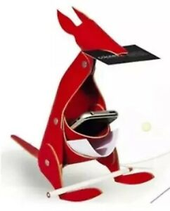New Vacavaliente Kangaroo Red Leather Desk Organizer Office Home Decor Art Nwt