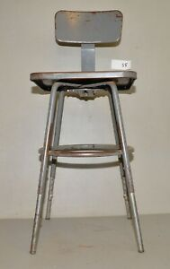 Vintage Industrial Metal Drafting Stool Adjustable Factory Shop Chair Early S5