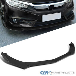 For Universal Ford Honda Bmw Matte Black Pp Front Bumper Lip Spoiler 3pc