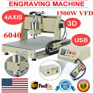 6040 Usb 4axis Cnc Router 1 5kw Vfd Engraving Milling Machine W Remote Control