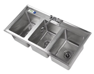 3 Compartment Sink Faucet 10 X 14 X 10 Bowl Stainless Steel 16 gauge Drop In