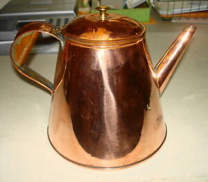 Antique 19th Cent Copper Coffee Pot Kettle Long Spout Copper Handle