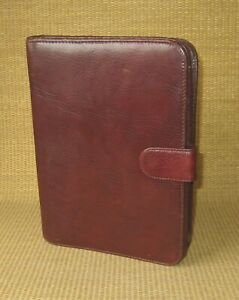 Classic Wilsons Brown Fine Leather 1 Rings Planner binder Folio Cover Notepad