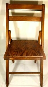 Vintage Child S Folding Wood Slatted Deck Church Chair Original Oak 32 Tall