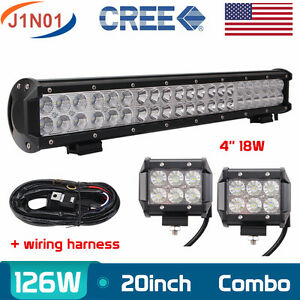 20 inch 126w Led Light Bar Combo Offroad Boat 2x 18w Flood Lamps Pods wiring Kit