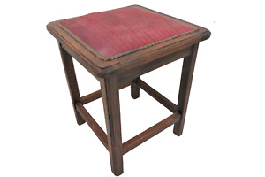Antique French Oak Upholstered Square Stool