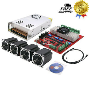 Mach3 Cnc 4 axis Kit Motor Controller 4pcs Nema23 Stepper Motor 57 power Supply