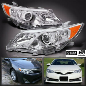 Fits 2012 2014 Toyota Camry Headlights Chrome Factory Style Projector Headlamp