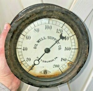 Oil Well Supply Company Pressure Gauge Steampunk Gage Vintage Antique