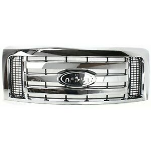 Grille For 2009 2012 Ford F 150 Chrome Shell W Black Insert Plastic