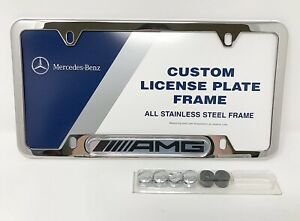 Genuine Polished Stainless Steel License Plate Frame Amg Logo For Mercedes