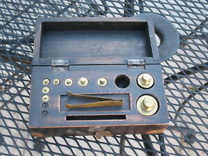 Primitive Gold Scale Drug Store Weight Set Original Wood Case Brass Corners