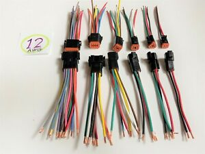 12 Awg Black Assembled Deutsch 2 3 4 6 8 12 Pin Waterproof Connector 6 Wire