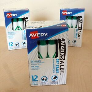 36 Ct Avery Marks a lot Dry Erase Markers Whiteboard Chisel Tip 12 pack green