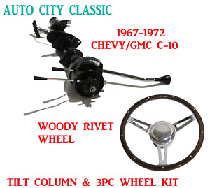 Automatic Steering Column 1967 1972 C 10 Chevrolet Gmc Pick Up 3pc Wheel Kit