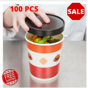 4 Pack Double Poly coated Paper Soup Hot Food Cup With Vented Paper Lid 25 pack