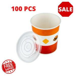 4 Pack Double Polycoated Paper Soup Hot Food Cup With Vented Plastic Lid 25 pack