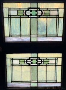 Pair Antique Chicago Arts Crafts Stained Leaded Glass Transom Window 32 X23
