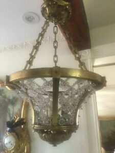 Pair Antique French Gilt Bronze Maison Bagues Beaded Crystal Chandeliers