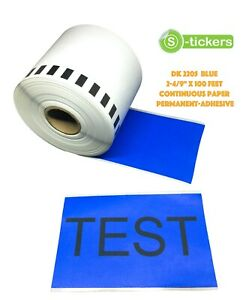 1 10 Rolls Dk 2205 Brother Compatible Continuous Color Blue Labels Cartridge