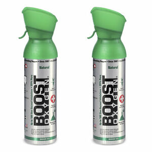 Boost Oxygen Natural Portable 5 Liter Pure Oxygen Canister Flavorless 2 Pack