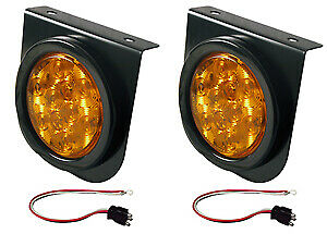 4 Led Amber Stop Tail Turn Trailer Mounting Light Kit