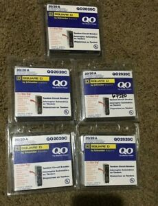 Lot Of 5 New Square D Qo2020c 2 Pole 20a Circuit Breakers Free Shipping
