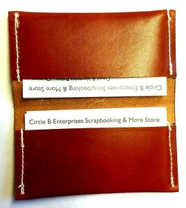 Leather Pocket Business Card Holder Hand Sewn Brown