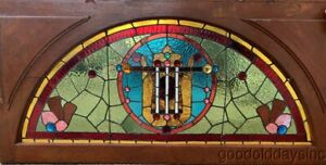 Large Victorian Arched Stained Leaded Glass Transom Window W Jewels 56 X 27