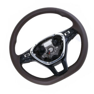 Leather Multifunction Steering Wheel Brown Fit For Vw Passat 12 17
