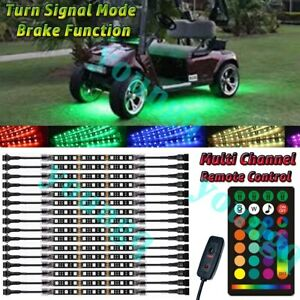 16pcs Golf Cart Kart Underbody Glow LED Lighting Kit 18-Color Accent Neon Strip