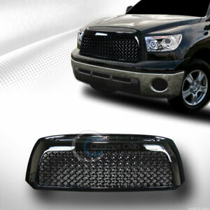 Fit 07 09 Toyota Tundra Glossy Blk Mesh Front Hood Bumper Grill Grille Guard Abs