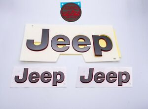4pcs Jeep Gladiator Jt Charcoal Gray Red Outline Tailgate Fender Nameplate Oem