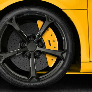 Set Of 4 Front And Rear Yellow Mgp Caliper Covers For 2014 2016 Bmw 535d