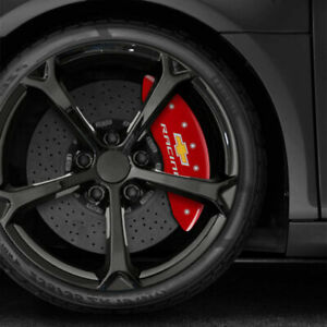 Red Chevy Racing Caliper Covers Fits Brembo For 2015 2017 Chevy Ss By Mgp